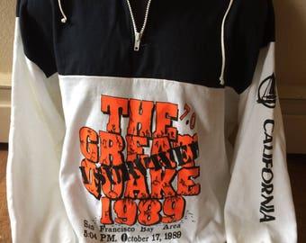 I Survived the Great Quake 1989 San Francisco California sweatshirt size XL