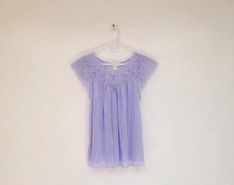 SALE Vintage 1990s Periwinkle Blue Lacy Babydoll Nylon Lingerie Top
