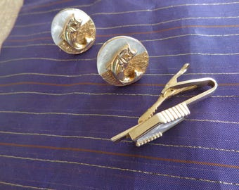 Signed Vintage Set of  SWANK Goldtone and Mother of Pearl Cuff Links and Matching Tie Clasp  Bass fish on cuff links with gold and MOP