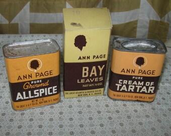 Vintage Ann Page Brand Allspice Bay Leaves Tartar Spice Tin A & P Tea Co Lot