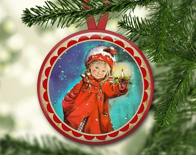 """3.5"""" holiday ornaments for tree - vintage christmas tree decoration - holiday refrigerator magnets for the kitchen - kitchen decor ORN-47"""