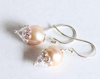 Simple Pearl Drop Earrings, Blush, Natural Pink, Pearl Drop Earrings, Freshwater Pearls, Sterling Silver