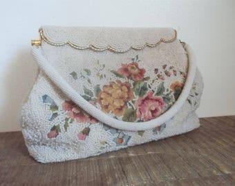 Vintage White Beaded Floral Petit point Evening Bag