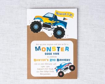 Monster Truck Invitation - Monster Truck Birthday Invitations - Monster Truck Invitations - Truck Invitations