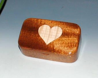 Curly Maple Heart &  Mahogany Wooden Trinket Box - Small Jewelry Box, Gift Box, Small Wood Box, Keepsake Box, TreasureBox, Heart Inlay Boxes