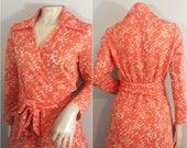 Coral Wrap Dress by Jackson's // Coral Wrap Dress with White Bird Design // 1970s Wrap Dress by Jackson's