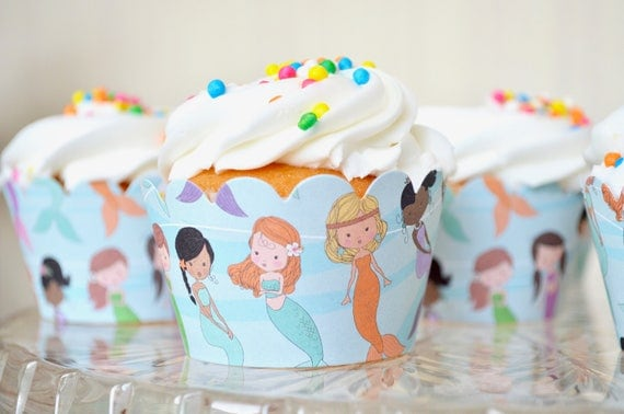 Mermaid Cupcake Wrappers - Sets of 12, 24, 36, etc! Featuring a colorful assortment of mermaids, perfect for birthdays, baby showers & more.