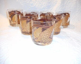 7 Vintage Signed  Morgan  Gold Eagle Old Fashioned Glasses/Whiskey Glasses