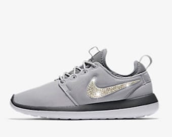Bling Nike Roshe Two Print Shoes with Swarovski Crystals * Grey * Bedazzled with Authentic Swarovski Crystal Rhinestones