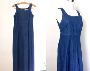 Vintage 1990s blue cotton market dress / minimal nineties long sleeveless A-line maxi dress - small