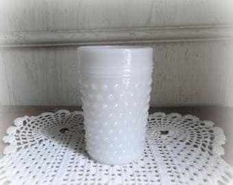 Vintage Milk Glass Tumbler Anchor Hocking Hobnail Milk Glass