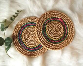 Raffia Trivets Set of 2 Bohemian Wall Decor Straw Trivets Boho Wall Art Southwestern Decor