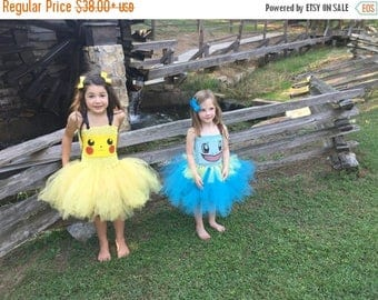 EARLYBIRD SALE Pokemon Squirtle Tutu Dress Costume Pikachu Pokeball Inspired Halloween Costume or Birthday Dress, Birthday Parties, or Dress