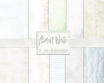 Basic White Digital Papers, Off White Lightly Textured Background Paper, Digital Essential White Backdrop, Social Media Images, Invitations