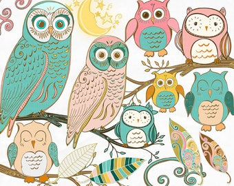 Whimsical Owl Clip Art, Folk Art Owl ClipArt, Royalty Free Images, Vintage Style Digital Graphics, Pink & Teal, Tree Branch, Hand Drawn Owl
