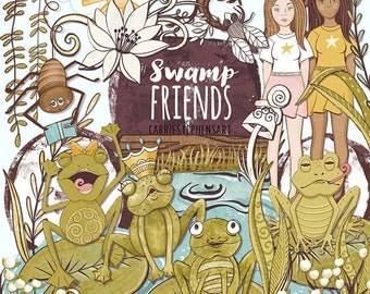 Whimsical Frog ClipArt, Swamp Friends ClipArt, FairyTale Graphics, DIY Printable, Commercial Use Graphics Download