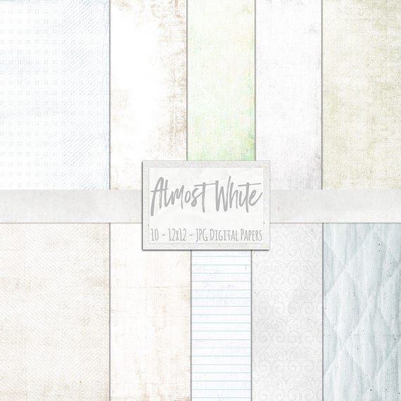 Basic White Digital Papers Off Lightly Textured Background