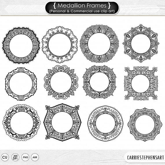 Medallion Frame Clip Art, Mehndi Circle Borders, Monogram Digital ...