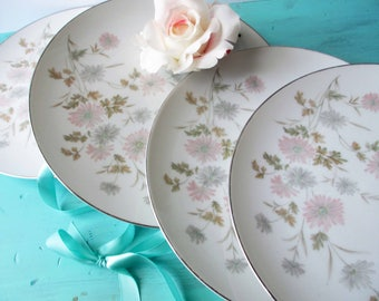 Vintage Noritake Barbara Pink and Gray Floral Dinner Plates Set of Four - So Lovely