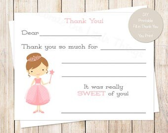 PRINTABLE printable princess thank you cards . pink princess birthday . fill in the blank thank you . brunette princess . Instant Download