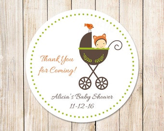 baby shower tags . fox baby favor tags, stickers . thank you tags . baby carriage, stroller . personalized . set of 12
