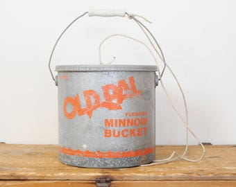 Vintage Old Pal Bucket Galvanized Metal Floating Minnow Buckets 24G10 Summer Fishing Cabin Decor Display