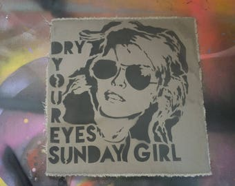 SALE punk Blondie Debbie Harry patch stencil spray paint Sunday Girl handmade by Rainbow Alternative