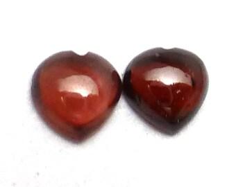 Garnet Cabochon 5mm Heart Pair Gemstone January Birthstone Deep Burgundy Designer Earring Stones