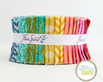 """True Colors - Mini Jelly Roll by Tula Pink for Free Spirit - 20- 2.5""""x44"""" Quilting Fabric Strips"""