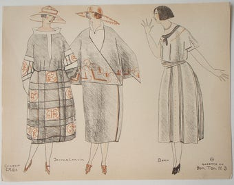Pochoir print from Gazette du BON TON 1920 sketched by Mario Simon illustrations of designs by Worth and de Beer
