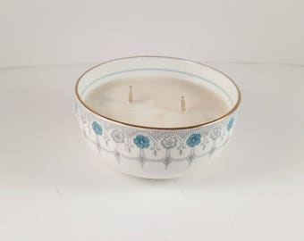 Vintage Dish Candle, 3oz Soy Candle, Hand Poured Candle, Vintage England China, Clean Cotton, Vintage Vanity Ready To Ship