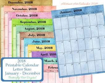 2018 Printable Calendar Monthly, Letter Size, Portrait,  Instant Download, Abstract Art Calendar, JPG 300 dpi