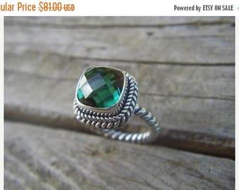 ON SALE Great looking green amethyst ring in sterling silver