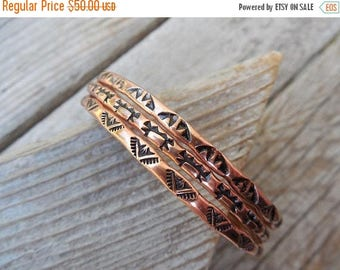 ON SALE Three bangle bracelets handmade and stamped in copper
