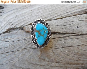 ON SALE Beautiful turquoise ring handmade in sterling silver with a natural blue Sonoran turquoise stone