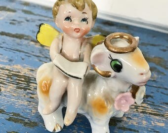 Vintage Cherub Angel Goat Lamb Sheep Angel Animal Halo Figurine Hand Painted