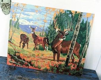 Large Vintage Deer Paint by Number Vintage PBN Deer Reindeer Painting