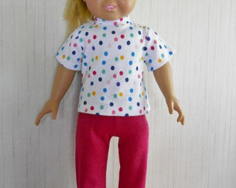 """18"""" Girl Doll Clothes Dot Shirt with Hot Pink Leggings for American Girl Type Dolls"""