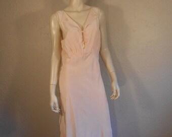 Anniversary Sale 35% Off Donde Esta Mi Esposo - Vintage 1950s Petal Pink Rayon Nightgown w/Stitched Burros - 34