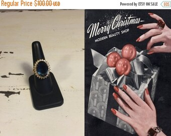 Anniversary Sale 35% Off As She Undoes the Wrapping - Vintage 1960s Blue & Clear Cocktail Ring GP - 8