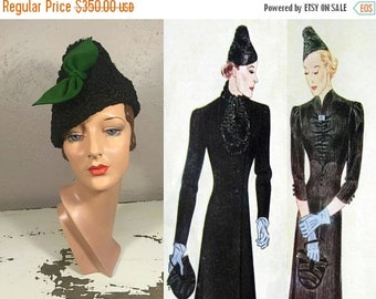 Anniversary Sale 35% Off It's All Quite Up In the Air - Vintage 1930s Black Persian Lamb Peaked Slouch Toque Hat w/Green Felt Bow