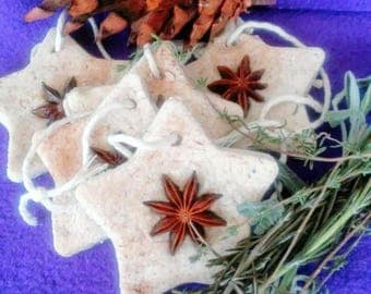 Set of 5, Country Christmas Anise Star ornaments