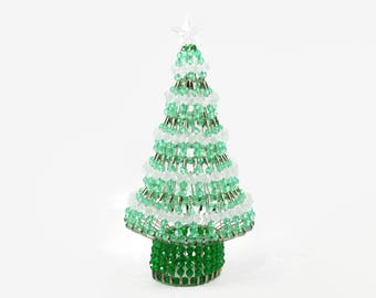 Safety Pin Christmas Tree with Green and Clear Beads, Vintage Christmas Decoration, Retro Christmas Decor, Tabletop Christmas Tree