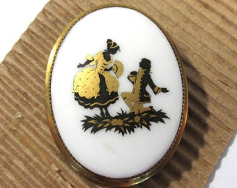 Victorian Porcelain Pin Courting Couple ANTIQUE Victorian Porcelain Pin Brooch Victorian Edwardian Antique Jewelry Ready to Wear (J220)
