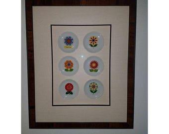Vintage Villeroy & Boch Mid Century Mod Framed Flower Plate Collection