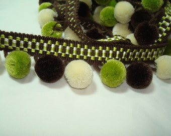 Chartreuse Chocolate Brown and Off-white Soft Pom-pom Trim.
