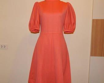 ON SALE Shining Coral Knit Dress Bust 34 Waist 26 Hip 38