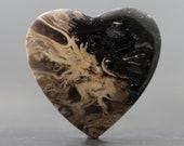 Heart Shape Petrified Palm Wood Root Fossil Gemstone Cabochon (21623)