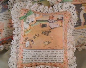 Children's Pillow with Lavender Image From 1930 Book