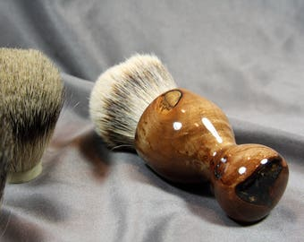 Shaving Brush American Maple Burl Wood w/ Clear Resin Choose Your Own Badger Hair Cast Birthday Anniversary Graduation Customizable